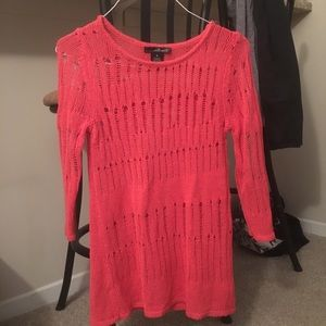 Willi Smith coral colored see through sweater SZ M